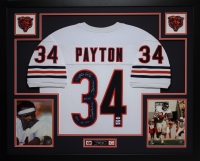 Walter Payton Signed Bears 35x43 Custom Framed Jersey with (5) Career Stat Inscriptions (PSA LOA & Payton Hologram)