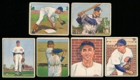 Lot of (6) 1950 Bowman Baseball Cards Including #116 Virgil Stallcup, #18 Eddie Robinson, #61 Bob Rush, #64 Alvin Dark, #197 Johnny Wyrostek & #196 Doyle Lade