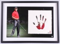 Tiger Woods Signed LE 22x29 Custom Framed Tegata Original Handprint Display #42/100 (UDA COA)