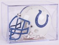 Johnny Unitas Signed Colts Mini Helmet with Display Case (PSA LOA)