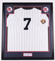 "Mickey Mantle Signed Yankees 34x38 Custom Framed Jersey Display Inscribed ""No. 7"" (JSA ALOA)"