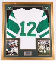 Joe Namath Signed Jets 35x39 Custom Framed Jersey Display (JSA)
