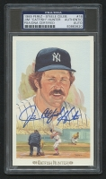 "Jim ""Catfish"" Hunter Signed LE 1989 Perez Steele HOF Postcard (PSA Encapsulated)"