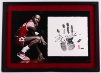 Michael Jordan Signed LE Bulls 22x29 Custom Framed Tegata Handprint Display #86/123 (UDA COA)