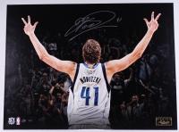 "Dirk Nowitzki Signed LE Mavericks ""Three"" 24x32 Stretched Canvas (Panini COA)"