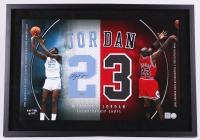 "Michael Jordan Signed ""North Carolina & Chicago Bulls Championship Shots"" 23x33 Custom Framed Jersey Number Display (UDA COA)"