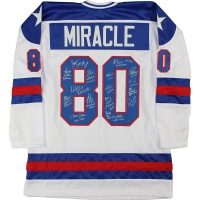"1980 Team USA Hockey ""Miracle on Ice"" Jersey Signed by (17) with Neal Broten, Dave Christian, Steve Christoff, Mike Eruzione (Steiner COA)"
