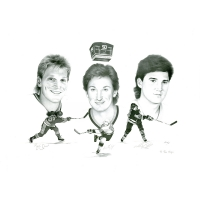 "Wayne Gretzky, Brett Hull & Mario Lemieux Signed LE ""50 Goals In 50 Games"" Lithograph (Scoreboard Inc Certificate)"