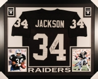 Bo Jackson Signed Raiders 35x43 Custom Framed Jersey (JSA COA)