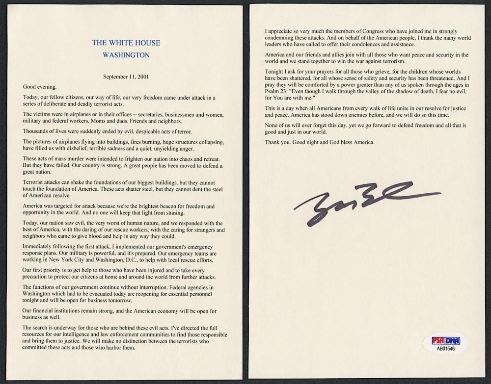 psa george w bush 9 11 speech George hw bush  jsa coa  alan bean  psa/dna  scarce autograph mag photo  buzz aldrin  psa/dna  signed lunar postcard  nasa  apollo 11 autograph.