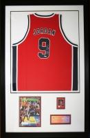 Michael Jordan Signed 1984 Team USA Olympic Basketball Jersey Custom Framed Display With Unused Olympic Ticket, Card & Sports Illustrated (UDA COA)