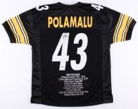 Troy Polamalu Signed Steelers Career Highlight Stat Jersey (JSA COA & TSE COA)
