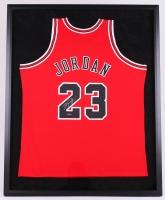 Michael Jordan Signed Bulls 34x42 Custom Framed Authentic Mitchell & Ness Jersey (UDA COA)