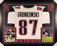 Rob Gronkowski Signed Patriots 35x43 Custom Framed Jersey (JSA COA)