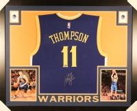 Klay Thompson Signed Warriors 35x43 Custom Framed Jersey (Fanatics)