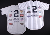 Set of (2) Derek Jeter Signed Yankees Majestic Authentic Home & Away Career Highlight Stat Jerseys Limited Edition #1/22 (MLB Hologram & Steiner COA)