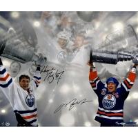 Wayne Gretzky & Mark Messier Signed Stanley Cup 16x24 Photo (Upper Deck COA)