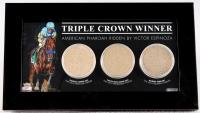 """American Pharoah """"Triple Crown Winner"""" Custom Framed Race-Used Dirt Display"""