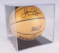 Magic Johnson & Larry Bird Signed Gold NBA Championship Basketball with Display Case (PSA COA)
