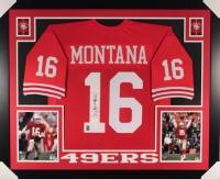 Joe Montana Signed 49ers 35x43 Custom Framed Jersey (JSA COA & Montana Hologram)