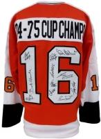 Team Signed Philadelphia Flyers 1974-75 Cup Champs Jersey with (11) Signatures Including Bob Clarke, Bernie Parent, Bill Barber, Gary Dornhoffer (JSA COA & SI COA)