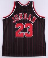 Michael Jordan Signed Bulls Authentic Mitchell & Ness Pinstripe Alternate Jersey (UDA COA)