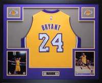 Kobe Bryant Signed Lakers 35x43 Custom Framed Jersey (Panini COA & Steiner COA)