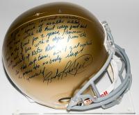 "Rudy Ruettiger Signed Full-Size Notre Dame Fighting Irish Helmet with ""Full Speech"" Extensive Inscription (Steiner COA)"
