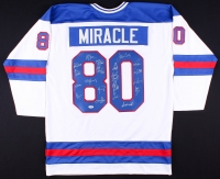 "1980 Team USA Hockey ""Miracle on Ice"" Jersey Signed by (17) with Mike Eruzione, Jim Craig, Ken Morrow, Jack O'Callahan, Rob McClanahan, Dave Silk, Buzz Schneider, Mark Wells, Neal Broten (PSA LOA)"