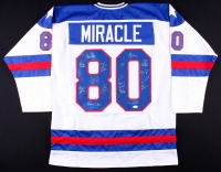 "1980 Team USA Hockey ""Miracle on Ice"" Jersey Signed by (17) with Mike Eruzione, Jim Craig, Ken Morrow, Jack O'Callahan, Rob McClanahan, Dave Silk, Buzz Schneider, Mark Wells, Neal Broten (JSA COA)"
