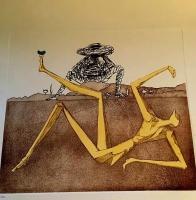 "Salvador Dali Signed ""Don Quichotte de la Mancha Suite: Heart of Madness"" 16x17 LE 1981 Etching & Aquatint on Arches Paper #9/300"