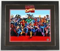 """Stan Lee Signed """"Marvel Comics"""" 23x27 Custom Framed Photo (Lee Hologram)"""