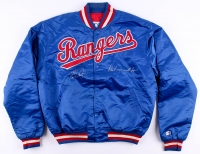 """Nolan Ryan Signed Vintage Rangers Warm-Up Jacket Inscribed """"Don't Mess with Texas"""" (PSA COA)"""