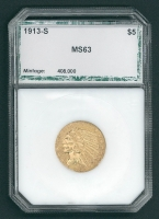 1913-S Indian Head $5 Five Dollar Coin (MS63)