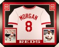 Joe Morgan Signed Reds 35x43 Custom Framed Jersey (JSA COA)