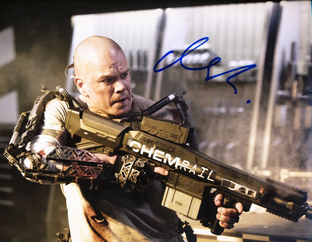 matt damon signed elysium 8x10 photo pa loa at. Black Bedroom Furniture Sets. Home Design Ideas